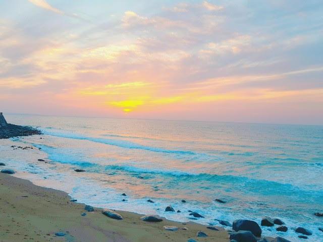 砂浜での夕日
